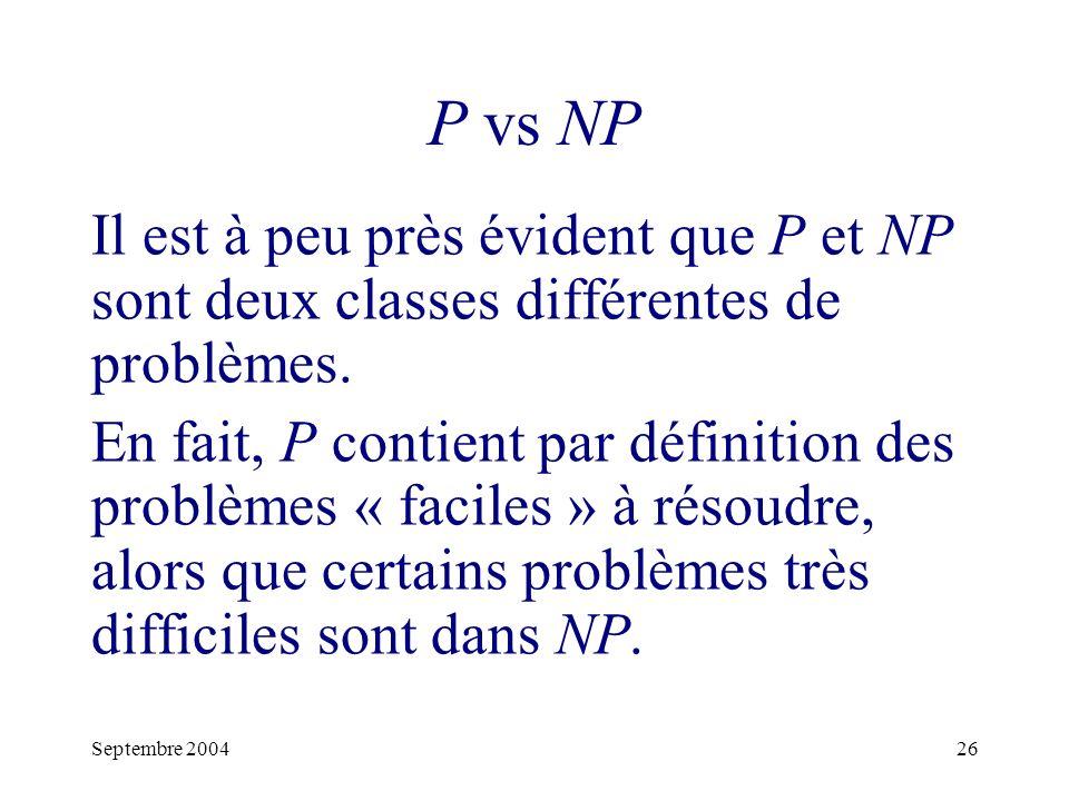 Septembre 200426 P vs NP Il est à peu près évident que P et NP sont deux classes différentes de problèmes.