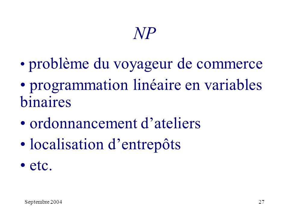 Septembre 200427 NP problème du voyageur de commerce programmation linéaire en variables binaires ordonnancement dateliers localisation dentrepôts etc.