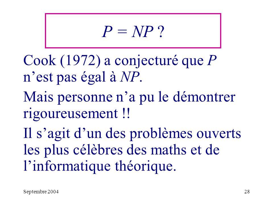 Septembre 200428 Cook (1972) a conjecturé que P nest pas égal à NP.