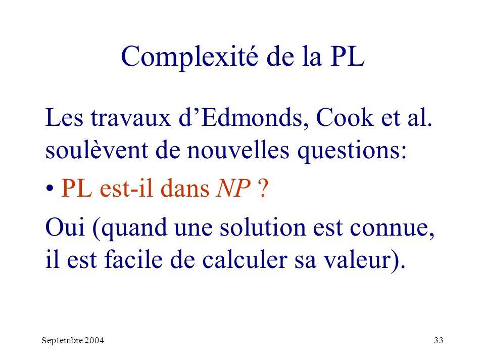 Septembre 200433 Complexité de la PL Les travaux dEdmonds, Cook et al.