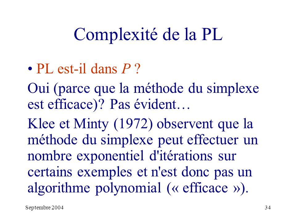 Septembre 200434 Complexité de la PL PL est-il dans P .