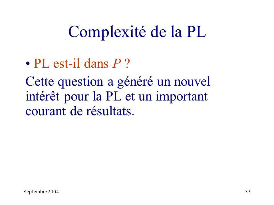 Septembre 200435 Complexité de la PL PL est-il dans P .