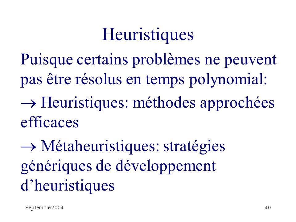 Septembre 200440 Heuristiques Puisque certains problèmes ne peuvent pas être résolus en temps polynomial: Heuristiques: méthodes approchées efficaces Métaheuristiques: stratégies génériques de développement dheuristiques