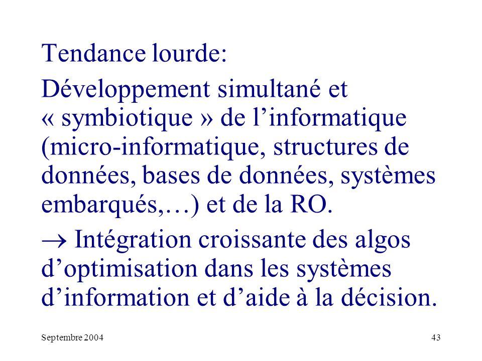 Septembre 200443 Tendance lourde: Développement simultané et « symbiotique » de linformatique (micro-informatique, structures de données, bases de données, systèmes embarqués,…) et de la RO.