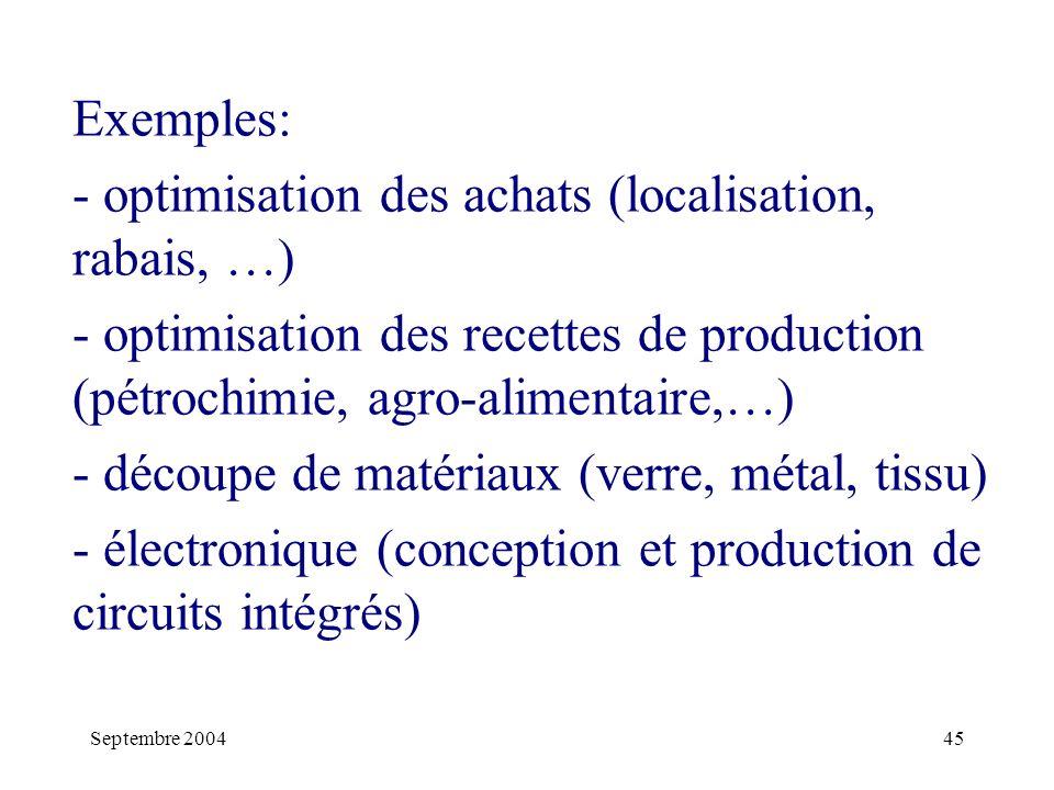 Septembre 200445 Exemples: - optimisation des achats (localisation, rabais, …) - optimisation des recettes de production (pétrochimie, agro-alimentaire,…) - découpe de matériaux (verre, métal, tissu) - électronique (conception et production de circuits intégrés)