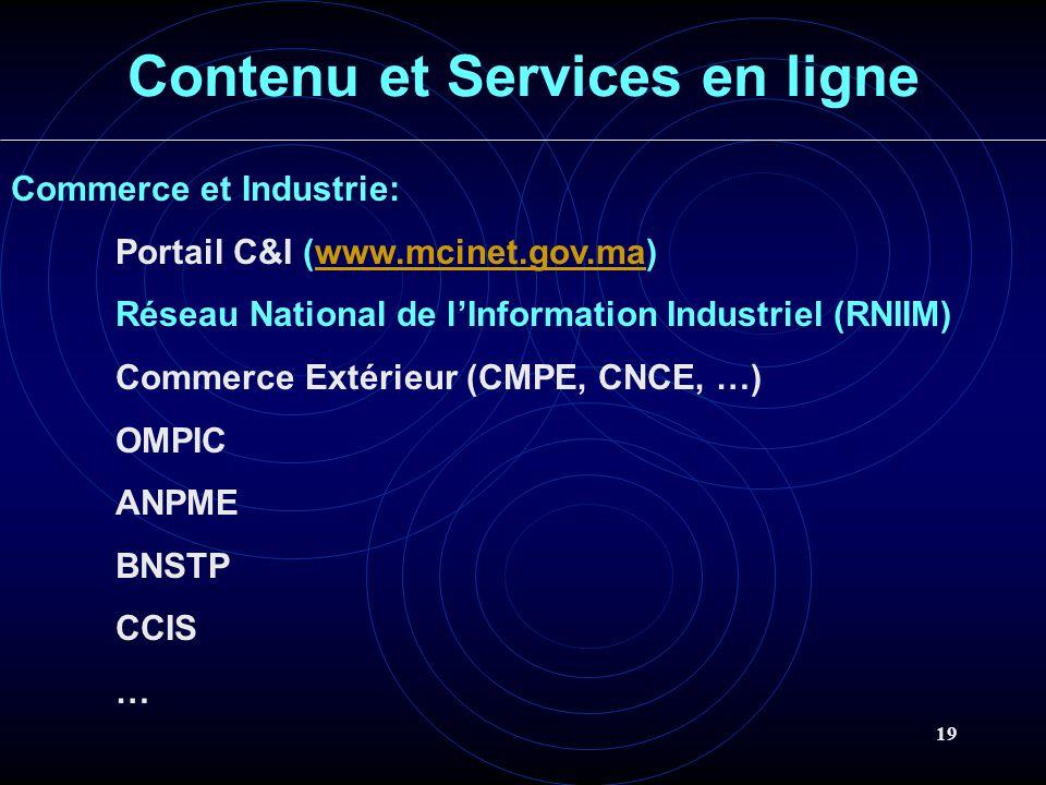 19 Contenu et Services en ligne Commerce et Industrie: Portail C&I (www.mcinet.gov.ma)www.mcinet.gov.ma Réseau National de lInformation Industriel (RNIIM) Commerce Extérieur (CMPE, CNCE, …) OMPIC ANPME BNSTP CCIS …