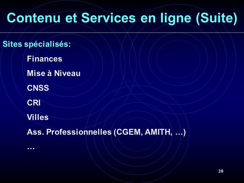 20 Contenu et Services en ligne (Suite) Sites spécialisés: Finances Mise à Niveau CNSS CRI Villes Ass. Professionnelles (CGEM, AMITH, …) …