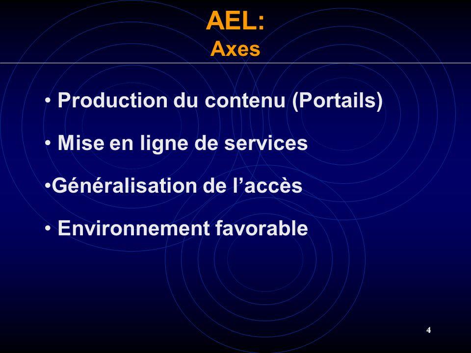 4 Production du contenu (Portails) Mise en ligne de services Généralisation de laccès Environnement favorable AEL:Axes