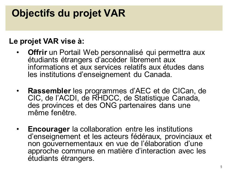 5 Objectifs du projet VAR Offrir un Portail Web personnalisé qui permettra aux étudiants étrangers daccéder librement aux informations et aux services