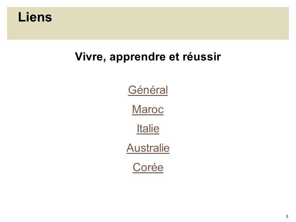 8 Liens Vivre, apprendre et réussir Général Maroc Italie Australie Corée