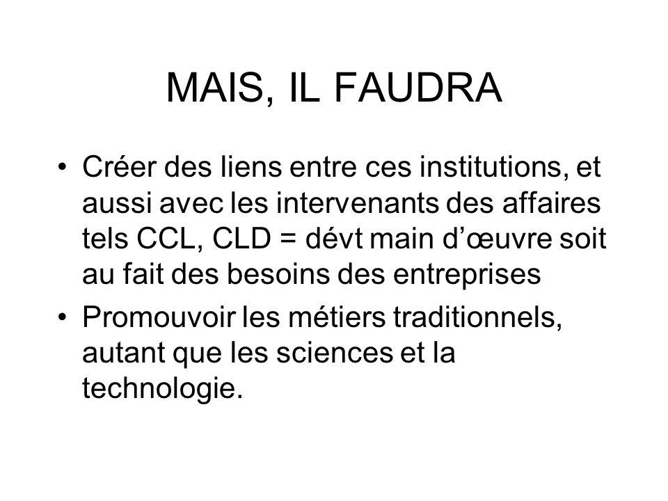MAIS, IL FAUDRA Créer des liens entre ces institutions, et aussi avec les intervenants des affaires tels CCL, CLD = dévt main dœuvre soit au fait des besoins des entreprises Promouvoir les métiers traditionnels, autant que les sciences et la technologie.