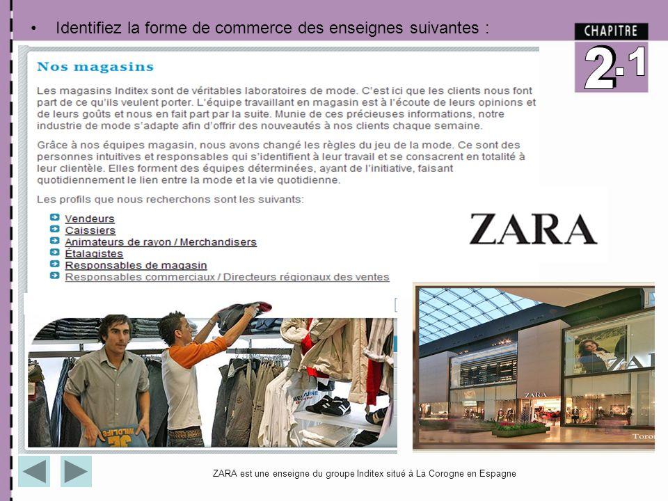 Identifiez la forme de commerce des enseignes suivantes : ZARA est une enseigne du groupe Inditex situé à La Corogne en Espagne
