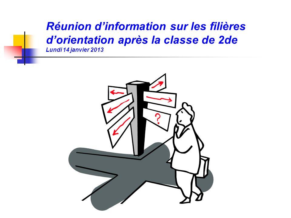 Réunion dinformation sur les filières dorientation après la classe de 2de Lundi 14 janvier 2013
