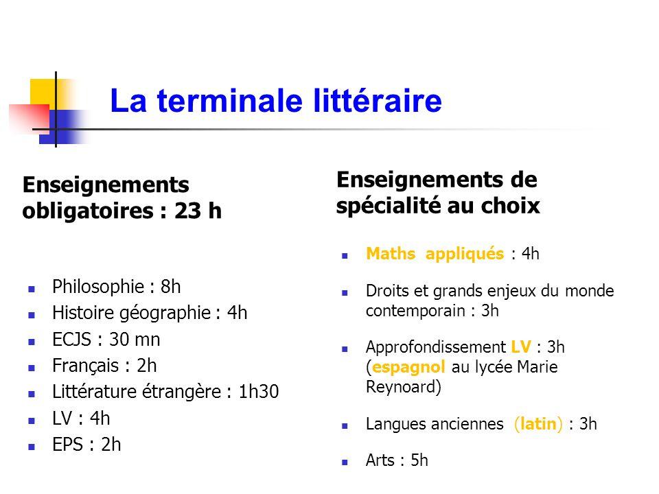 La terminale littéraire Enseignements obligatoires : 23 h Philosophie : 8h Histoire géographie : 4h ECJS : 30 mn Français : 2h Littérature étrangère :