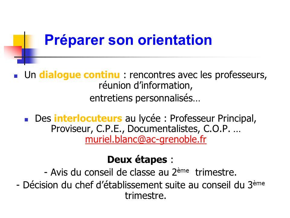 Préparer son orientation Un dialogue continu : rencontres avec les professeurs, réunion dinformation, entretiens personnalisés… Des interlocuteurs au