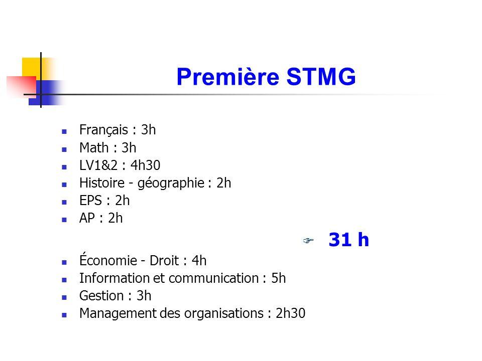 Première STMG Français : 3h Math : 3h LV1&2 : 4h30 Histoire - géographie : 2h EPS : 2h AP : 2h 31 h Économie - Droit : 4h Information et communication : 5h Gestion : 3h Management des organisations : 2h30