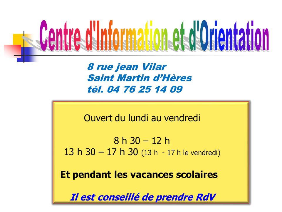 du lundi au vendredi 9h00 - 12h00 13h30 - 17h30 Ouvert aussi le mercredi et pendant les vacances 8 rue jean Vilar Saint Martin dHères tél. 04 76 25 14