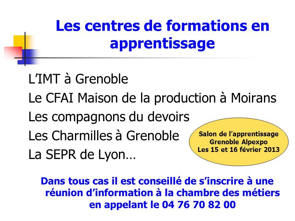 Les centres de formations en apprentissage LIMT à Grenoble Le CFAI Maison de la production à Moirans Les compagnons du devoirs Les Charmilles à Grenob