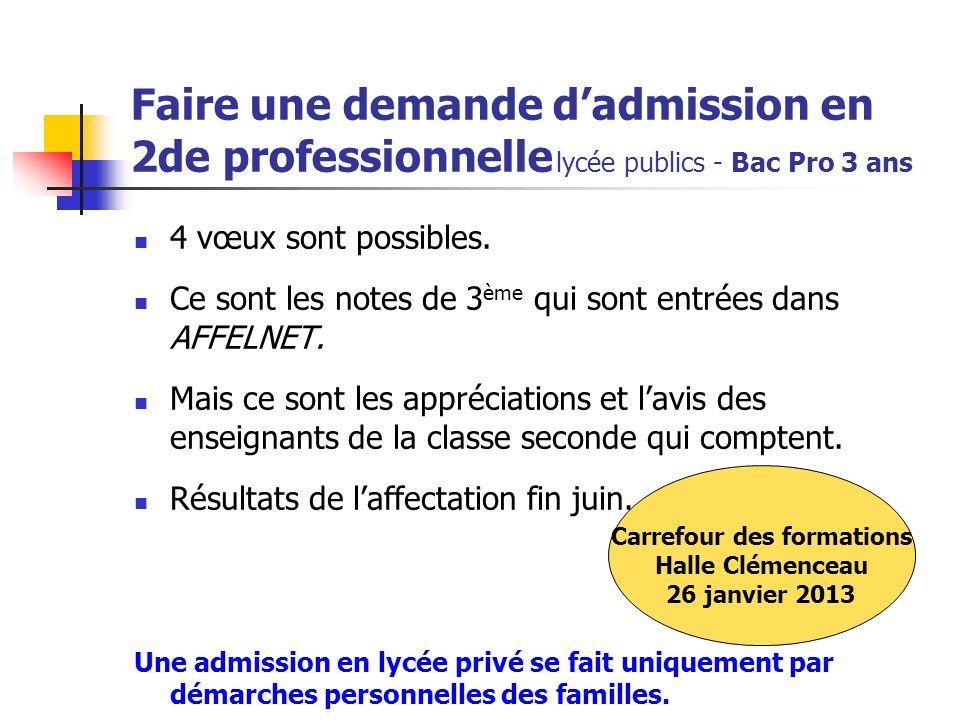 Faire une demande dadmission en 2de professionnelle lycée publics - Bac Pro 3 ans 4 vœux sont possibles. Ce sont les notes de 3 ème qui sont entrées d