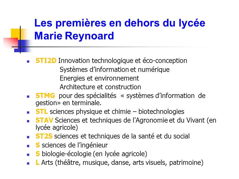 Les premières en dehors du lycée Marie Reynoard STI2D Innovation technologique et éco-conception Systèmes dinformation et numérique Energies et environnement Architecture et construction STMG pour des spécialités « systèmes dinformation de gestion» en terminale.