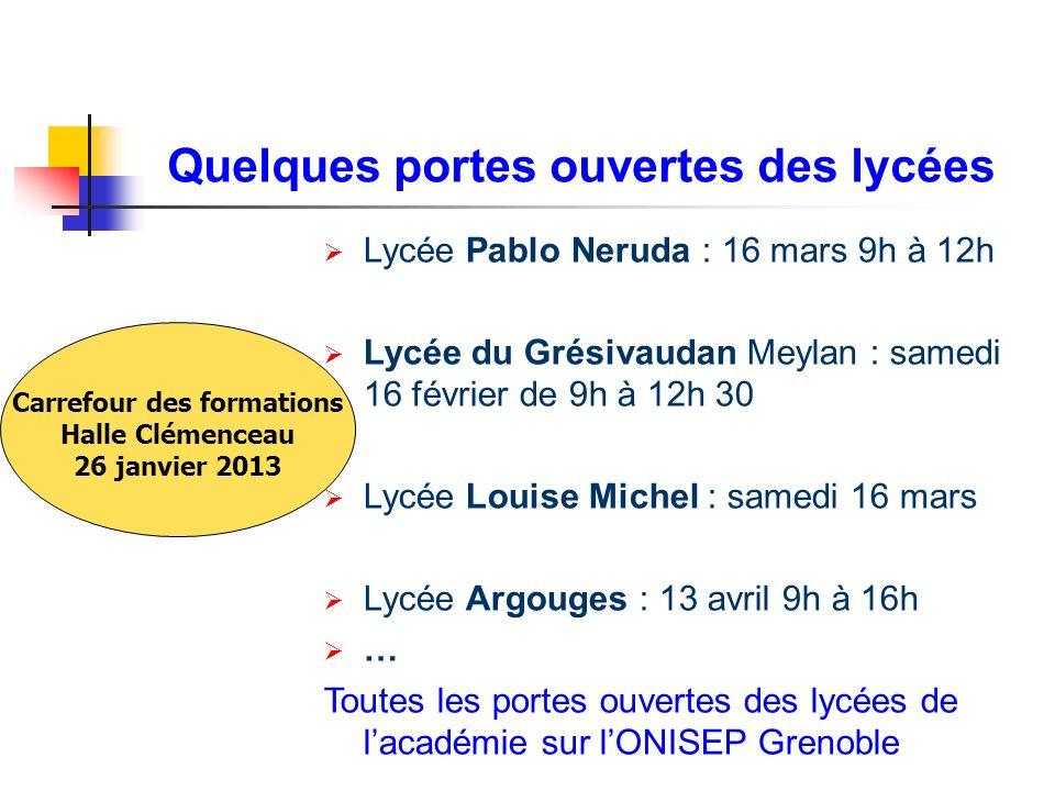 Quelques portes ouvertes des lycées Lycée Pablo Neruda : 16 mars 9h à 12h Lycée du Grésivaudan Meylan : samedi 16 février de 9h à 12h 30 Lycée Louise