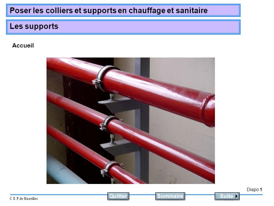 Diapo 1 C E P de Bazeilles Poser les colliers et supports en chauffage et sanitaire Les supports Accueil