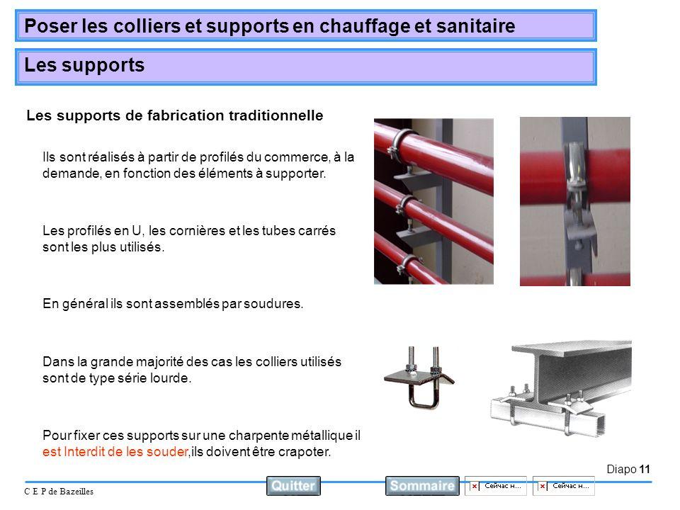Diapo 11 C E P de Bazeilles Poser les colliers et supports en chauffage et sanitaire Les supports Les supports de fabrication traditionnelle Les profi