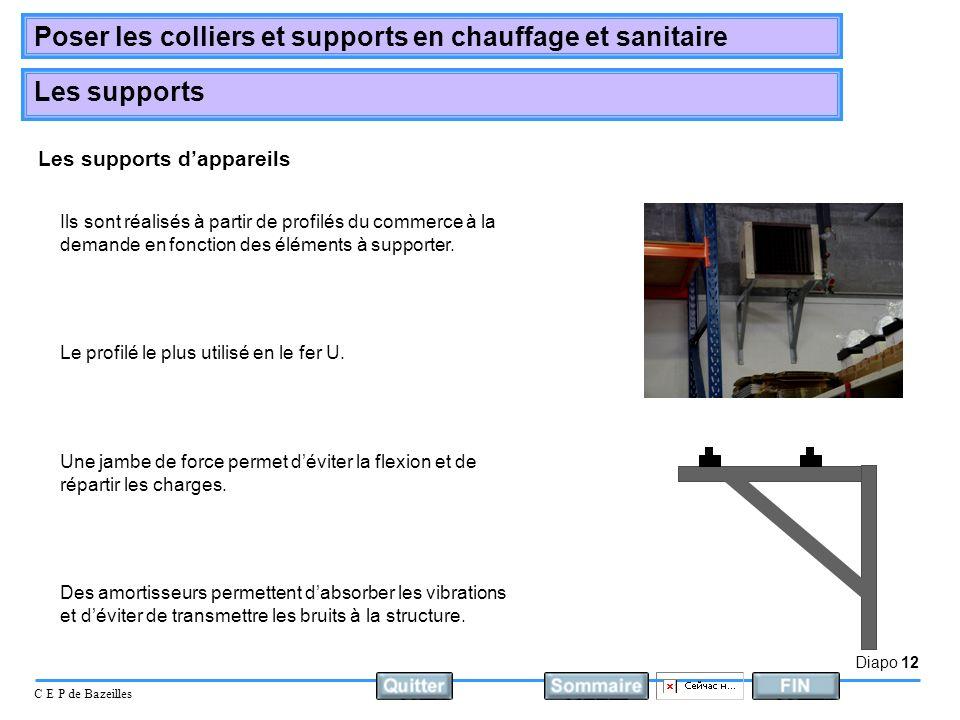 Diapo 12 C E P de Bazeilles Poser les colliers et supports en chauffage et sanitaire Les supports Les supports dappareils Le profilé le plus utilisé e