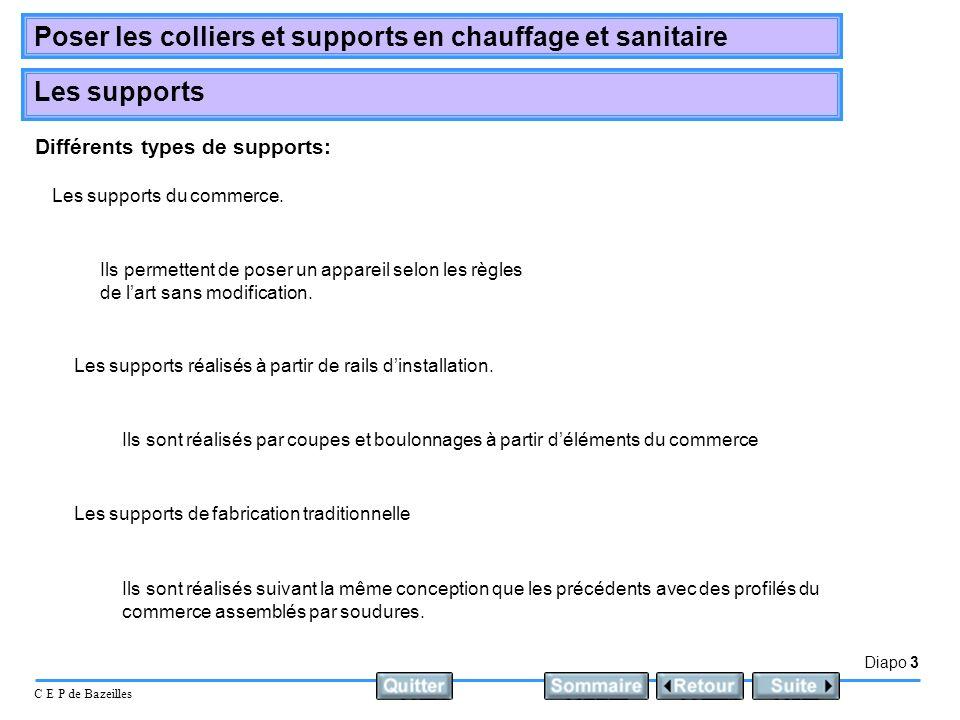 Diapo 3 C E P de Bazeilles Poser les colliers et supports en chauffage et sanitaire Les supports Différents types de supports: Les supports du commerc