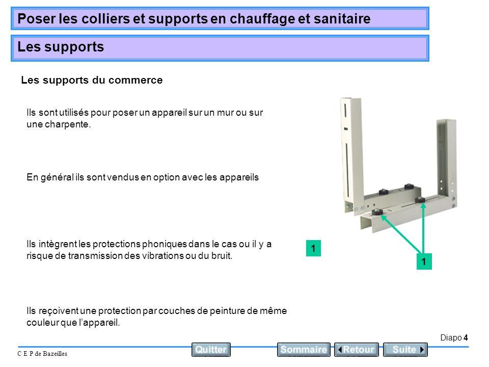 Diapo 4 C E P de Bazeilles Poser les colliers et supports en chauffage et sanitaire Les supports Les supports du commerce Ils sont utilisés pour poser