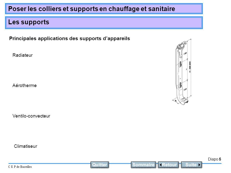 Diapo 5 C E P de Bazeilles Poser les colliers et supports en chauffage et sanitaire Les supports Principales applications des supports dappareils Radi