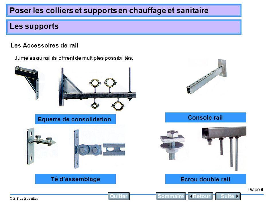 Diapo 9 C E P de Bazeilles Poser les colliers et supports en chauffage et sanitaire Les supports Les Accessoires de rail Jumelés au rail ils offrent d