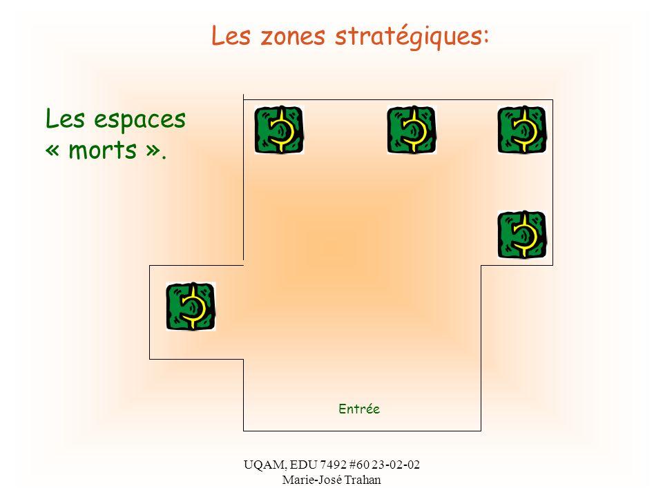 UQAM, EDU 7492 #60 23-02-02 Marie-José Trahan Les zones stratégiques: Entrée Les espaces « morts ».