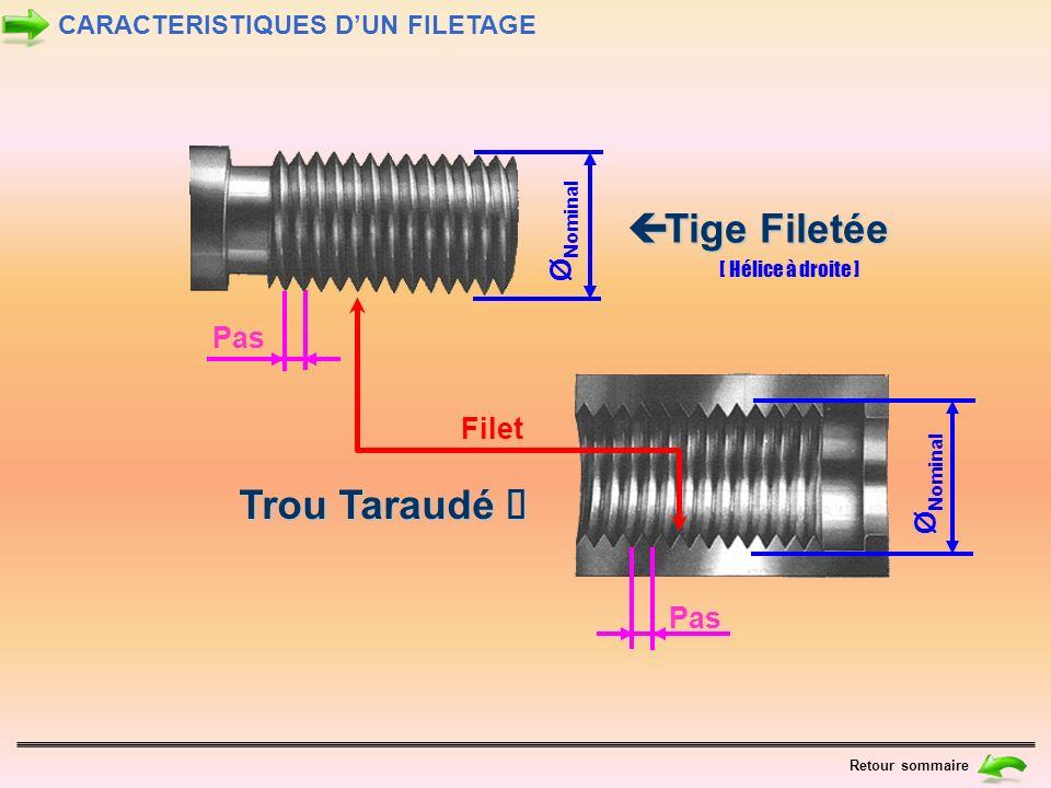 Ø Nominal Ø Nominal Filet Pas Tige Filetée Tige Filetée Tige Filetée Tige Filetée Trou Taraudé Trou Taraudé [ Hélice à droite ] CARACTERISTIQUES DUN F
