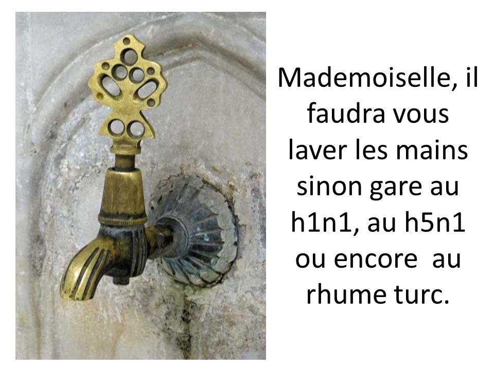 Mademoiselle, il faudra vous laver les mains sinon gare au h1n1, au h5n1 ou encore au rhume turc.