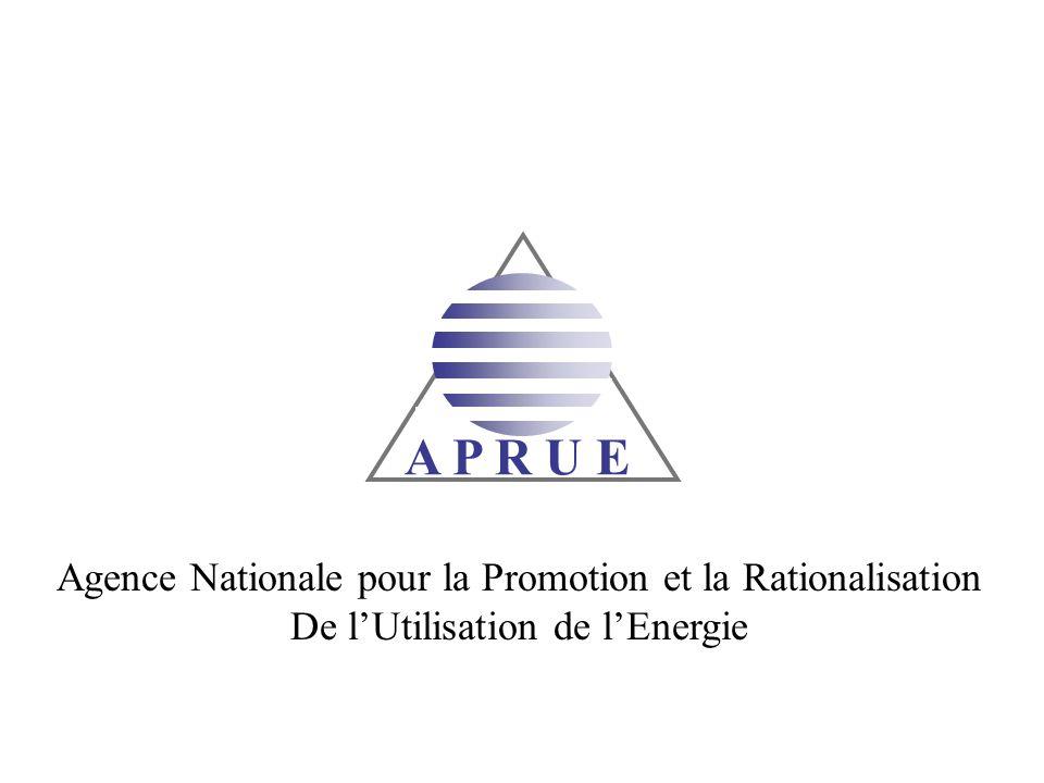 A P R U E Agence Nationale pour la Promotion et la Rationalisation De lUtilisation de lEnergie