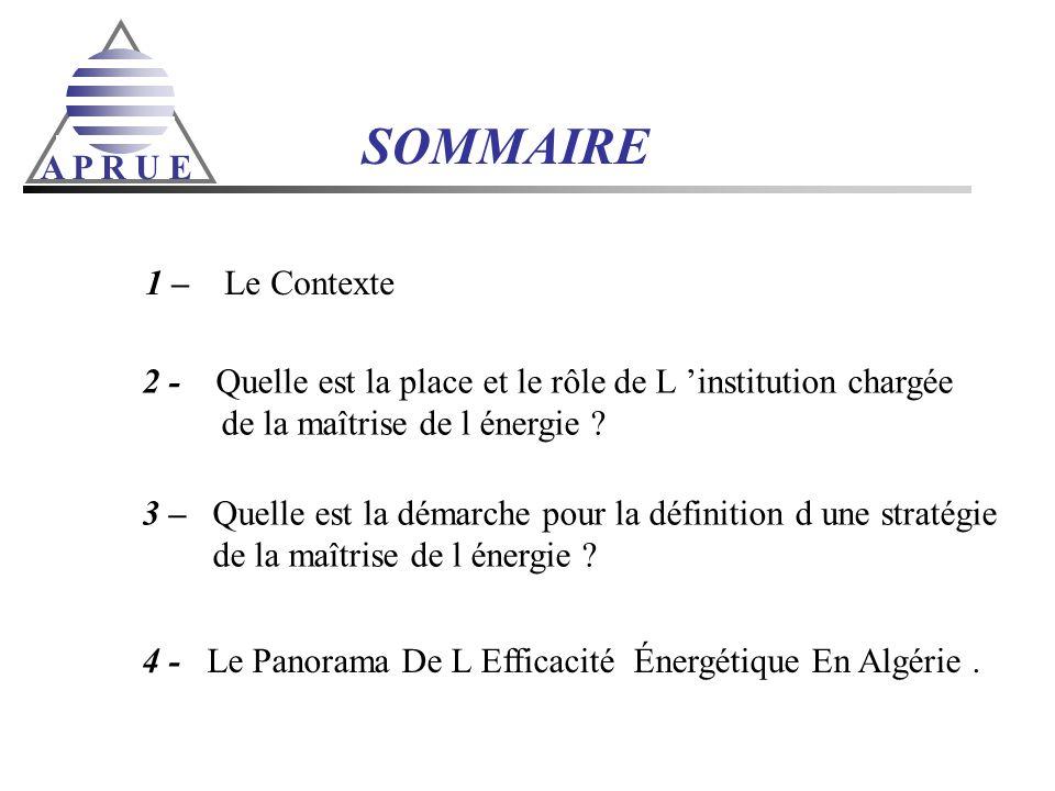 A P R U E SOMMAIRE 1 – Le Contexte 2 - Quelle est la place et le rôle de L institution chargée de la maîtrise de l énergie ? 3 – Quelle est la démarch