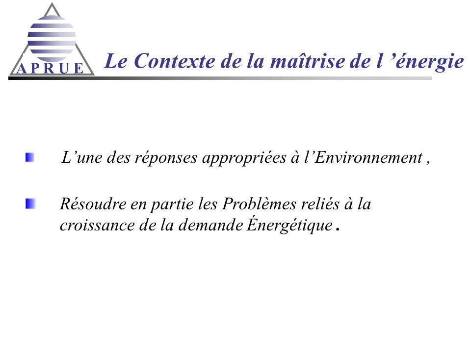 A P R U E Le Contexte de la maîtrise de l énergie Lune des réponses appropriées à lEnvironnement, Résoudre en partie les Problèmes reliés à la croissa