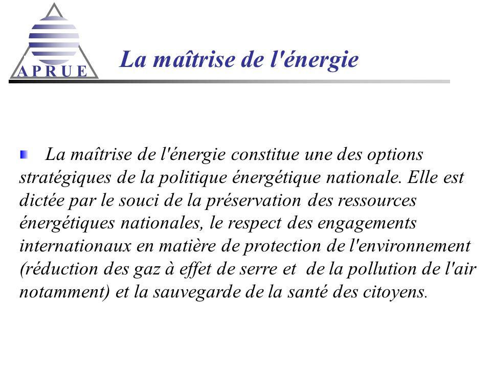 A P R U E La maîtrise de l'énergie La maîtrise de l'énergie constitue une des options stratégiques de la politique énergétique nationale. Elle est dic