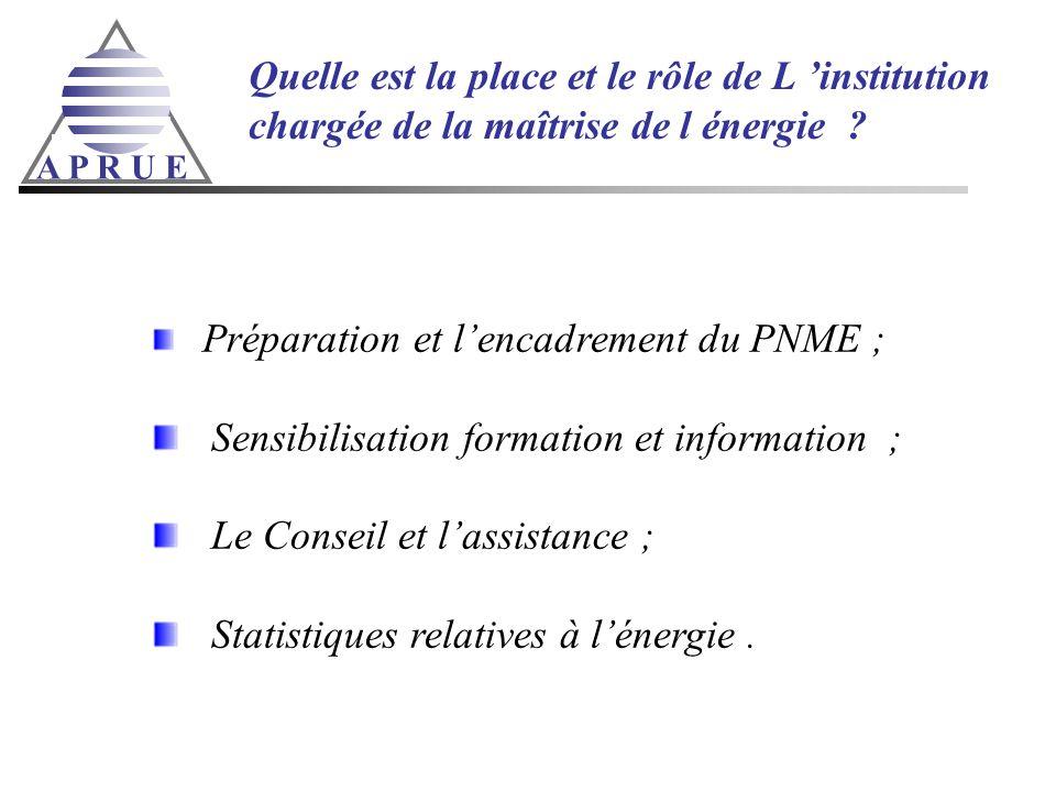 A P R U E Quelle est la place et le rôle de L institution chargée de la maîtrise de l énergie ? Préparation et lencadrement du PNME ; Sensibilisation