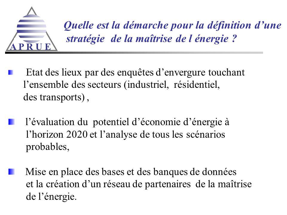 A P R U E Quelle est la démarche pour la définition dune stratégie de la maîtrise de l énergie ? Etat des lieux par des enquêtes denvergure touchant l