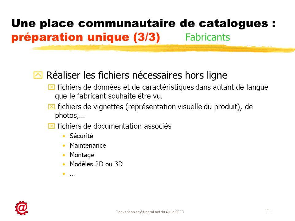 Convention ec@t-npmi.net du 4 juin 2008 11 y Réaliser les fichiers nécessaires hors ligne x fichiers de données et de caractéristiques dans autant de langue que le fabricant souhaite être vu.