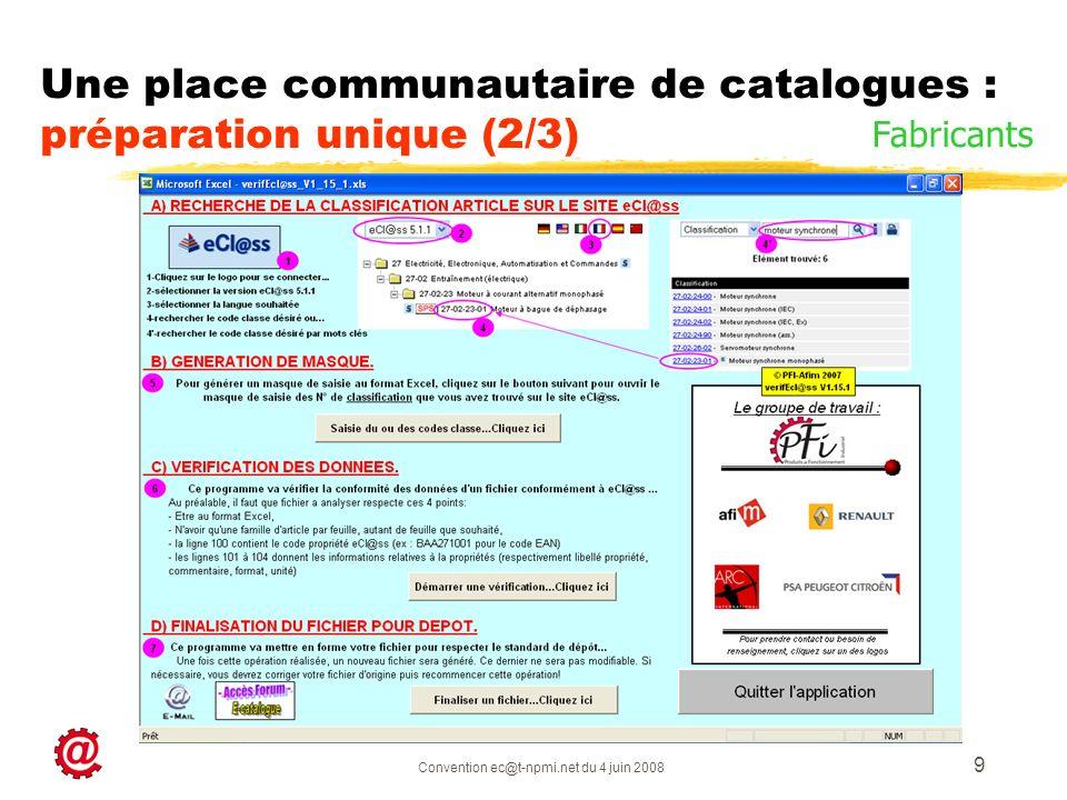 Convention ec@t-npmi.net du 4 juin 2008 9 Une place communautaire de catalogues : préparation unique (2/3) Fabricants