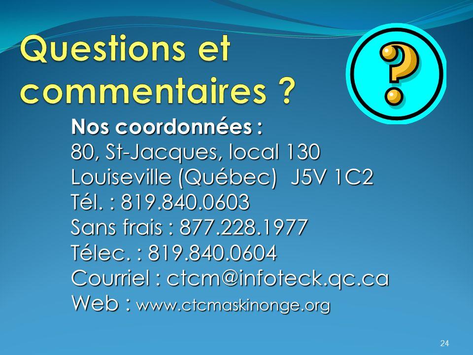 24 Nos coordonnées : 80, St-Jacques, local 130 Louiseville (Québec) J5V 1C2 Tél.