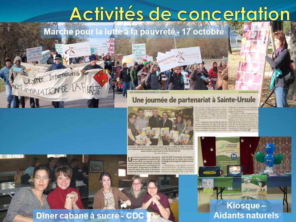 9 Dîner cabane à sucre - CDC Marche pour la lutte à la pauvreté - 17 octobre Kiosque – Aidants naturels