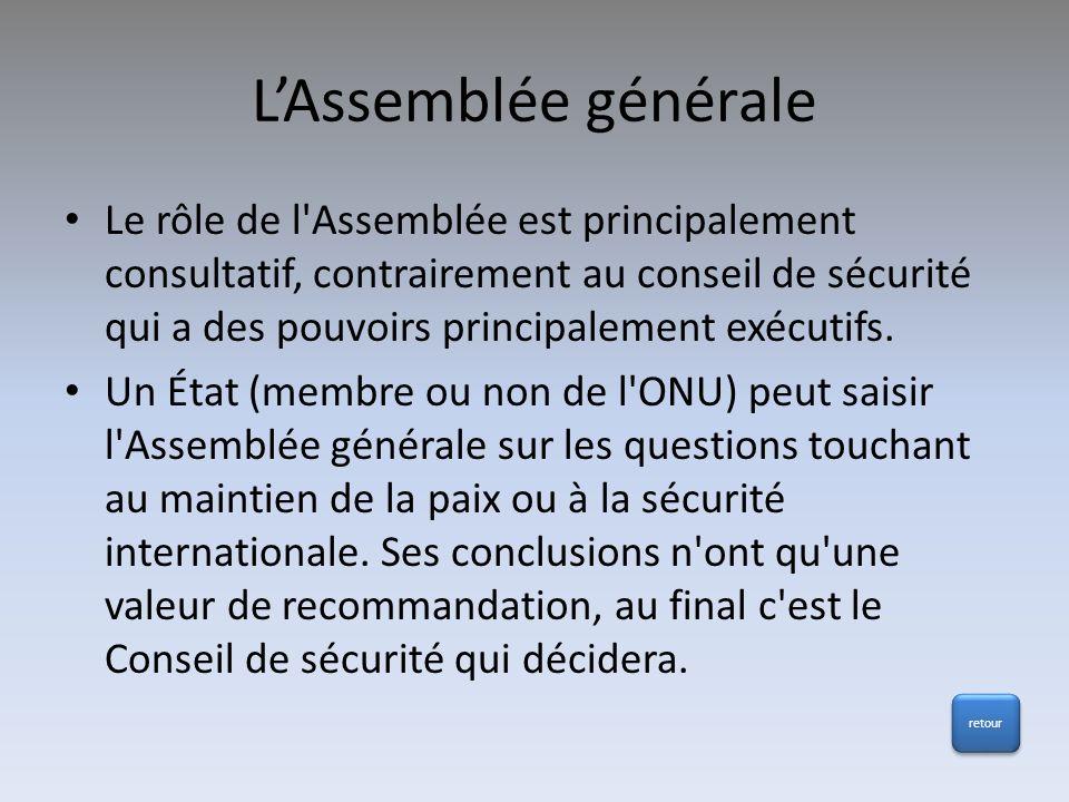 LAssemblée générale Le rôle de l'Assemblée est principalement consultatif, contrairement au conseil de sécurité qui a des pouvoirs principalement exéc
