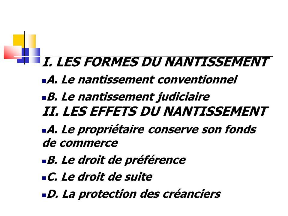 I. LES FORMES DU NANTISSEMENT A. Le nantissement conventionnel B. Le nantissement judiciaire II. LES EFFETS DU NANTISSEMENT A. Le propriétaire conserv