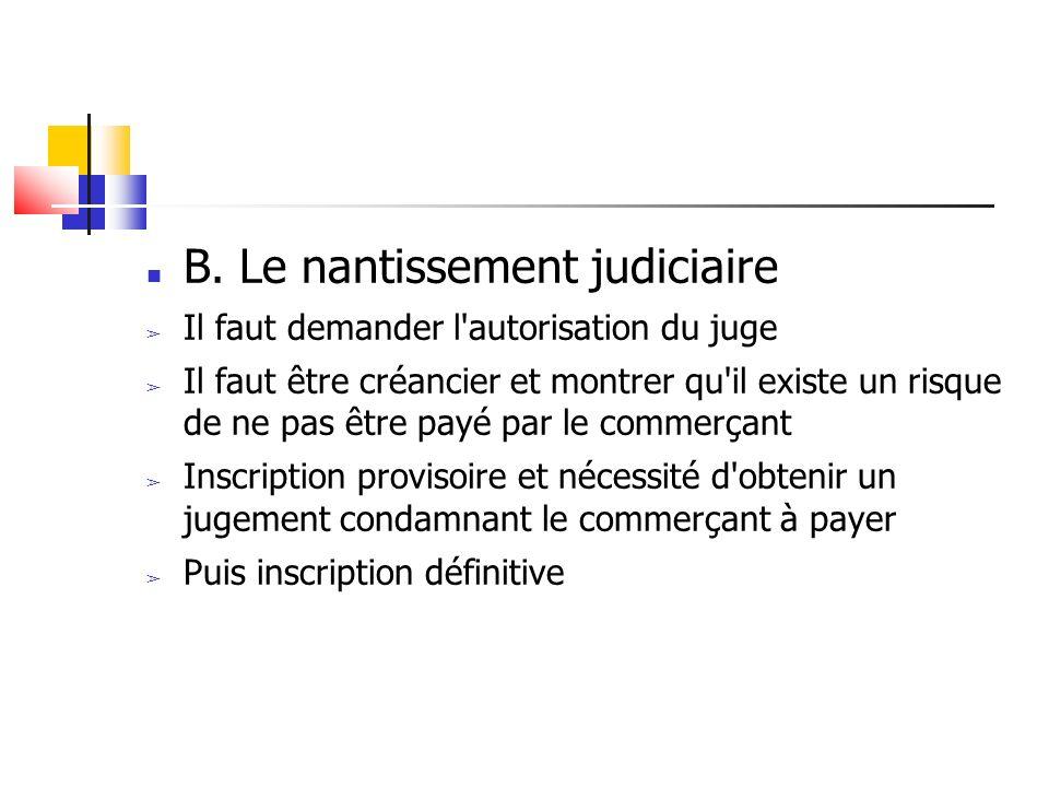 B. Le nantissement judiciaire Il faut demander l'autorisation du juge Il faut être créancier et montrer qu'il existe un risque de ne pas être payé par