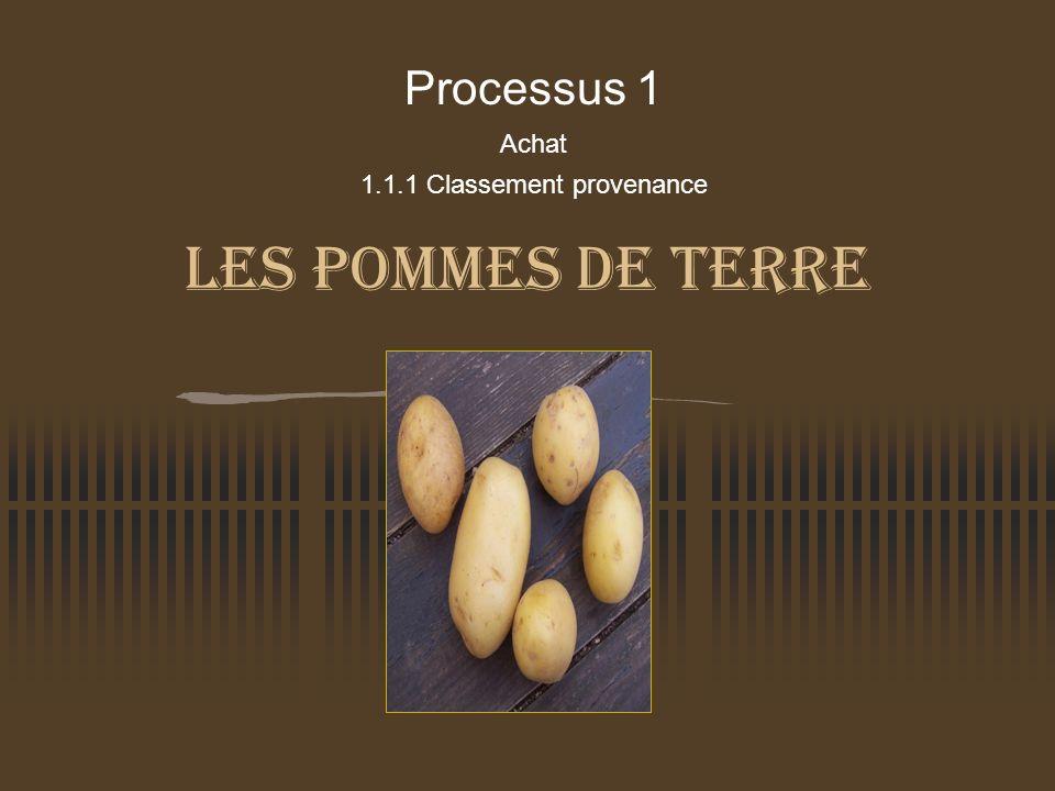 Les pommes de terre Processus 1 Achat 1.1.1 Classement provenance