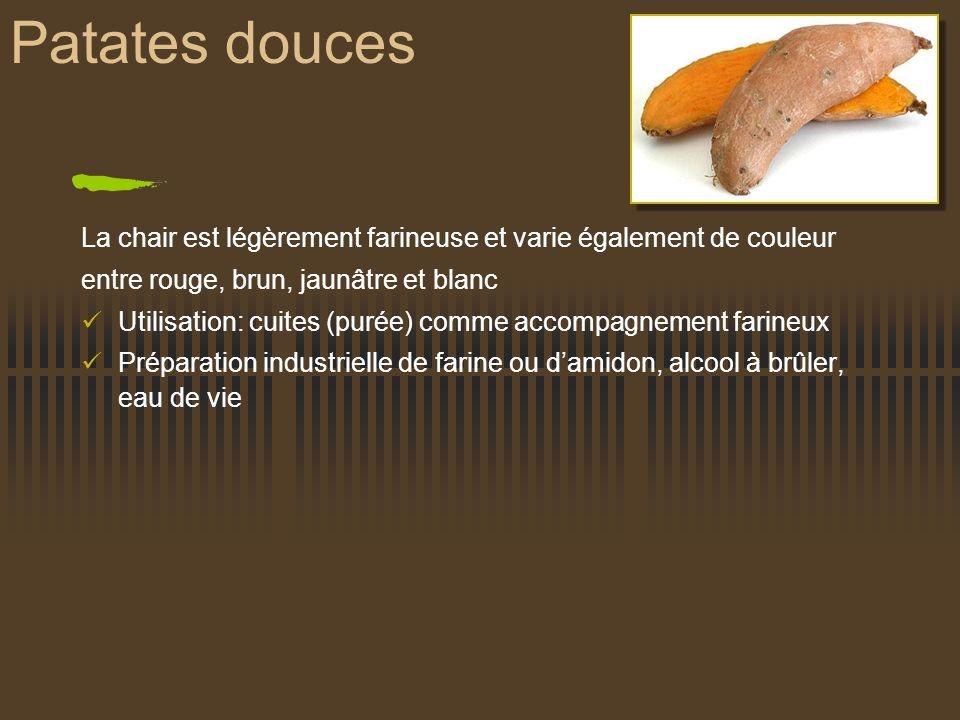 Patates douces La chair est légèrement farineuse et varie également de couleur entre rouge, brun, jaunâtre et blanc Utilisation: cuites (purée) comme